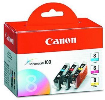 Ink Cartridge Canon CLI-8 ChromaLife-Set III, cyan/magenta/yellow & Paper GP-501 for iP3300/4200/4300/4500/5200/5200R/5300/6600/ iX4000/5000/5200R/6700D/ MP510/530/600/600R/810/830/ MX700/850/ Pro9000/Pro9000 Mark II