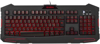 SVEN Challenge 9100, Multimedia Keyboard, 12-keys, 3 variable backlight colors with level adjust, USB, Black