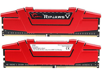 16GB DDR4 Dual-Channel Kit G.SKILL Ripjaws V F4-3600C19D-16GVRB 16GB (2x8GB) DDR4 PC4-28800 3600MHz CL19, Retail (memorie/память)