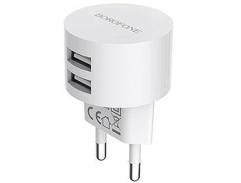 Borofone BA23A Brilliant dual port charger (EU) white, 2xUSB, 703996 (incarcator universal/универсальное зарядное устройство для планшетов и смартфонов)
