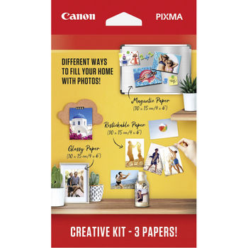 PAPER Creative Kit 2 - Pixma Creative Kit (MG101 10 х 15 магнитная фотобумага 5 листов + RP-101 10 х 15 бумага повторного наклеивания 5 листов + PP201 10 х 15 глянцевая фотобумага 50 листов)