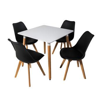 Столовый набор DT E10 белый + 4 стула 7053 черный