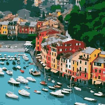 """PN7709 Картина по номерам Artissimo """"Portofino"""", 4 *, 18 цветов, 40x50 см"""