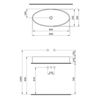 Раковина Cortina Мат 85x40cm