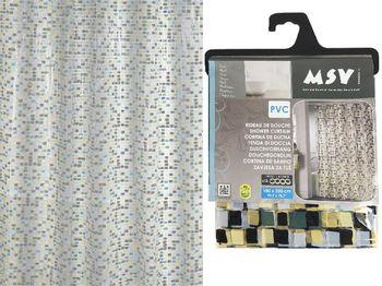 """Шторка для душа 180X200cm """"мозаика"""" серая-беж, PVC"""