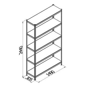 купить Стеллаж металлический с металлической плитой Gama Box 1490Wx305Dx2440 Hмм, 5 полок/MB в Кишинёве