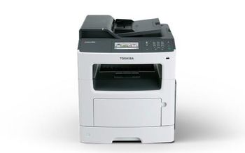 MFD Toshiba e-Studio 385S,Mono Printer/Copier/Color Scanner/FAX,DADF(50-sheet),Duplex,Net,WiFi,Adobe PostScript, A4,38ppm,512Mb,1200x1200dpi,60-163г/м2,Scan1200x600dpi-24 bit,250+50sheet tray,Colour Touch Screen,Max.100k pages per month,T-3850P-10000