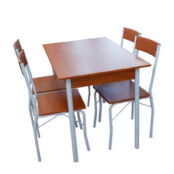 cumpără Set masă cu 4 scaune din metal și MDF,1100x700xH760 mm, maro în Chișinău