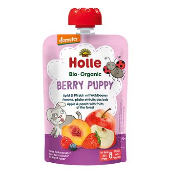 Пюре Berry Puppy с яблоком, персиком и лесными ягодами с 8 месяцев Holle Bio Organic, 100 г