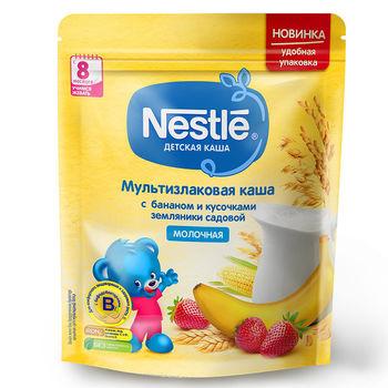 купить Nestle каша мультизлаковая молочная с бананом и кусочками земляники, 8+мес. 220г в Кишинёве