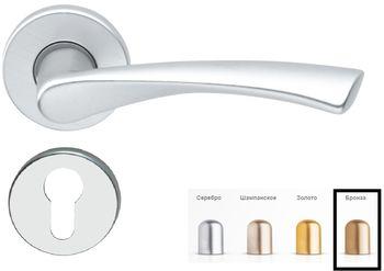 Дверная ручка на розетке Milano-F4 бронза + накладка под цилиндр