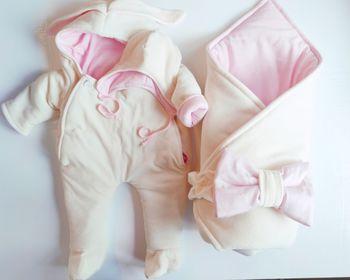Конвертик PAMPY Pink+Комбинезон+шапочка (0-6 месяцев)