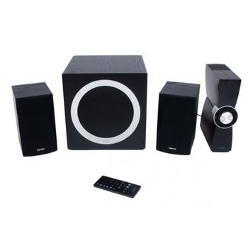 "Edifier C3X  Black, 2.1/ 65W (45W+ 2x10W) RMS, with External Amplifier, USB & SD card input (MP3/WMA), LED display, Audio in: two analog (AUX, PC), remote control, all wooden, (sub.8"" + satl.(3.5""+1/2""))"