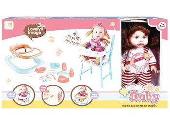 Кукла, стул, кроватка, ходунки (зайчик), 55.5X32X10cm