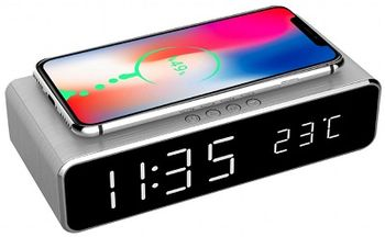 Gembird DAC-WPC-01 Digital alarm Clock with Wireless charging function, Black