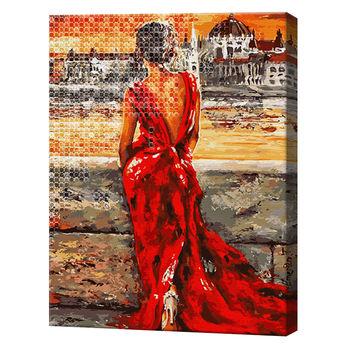 Девочка в красном на берегу моря, 40x50 см, комбо-набор номеров + алмазная мозаика, YHDGJ73966