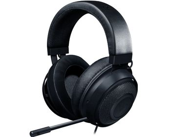 RAZER Kraken Black Gaming Headset, Retractable Unidirectional Microphone with quick mute toggle, 7.1 Surround Sound, 50mm neodymium driver units, 3.5 mm audio jack, Black