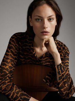 Блуза Massimo Dutti Черный с принтом 5117/806/800