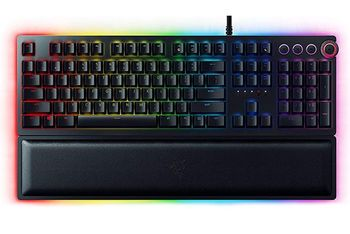 RAZER Huntsman US / Opto-Mechanical Gaming Keyboard (Razer Opto-Mechanical Switch™), Key stabilizer bar, Aluminum matte top plate, Razer hypershift, 10-key rollover, on-the-fly macro, device lighting effects powered by Razer Chroma™, Synapse 3, USB