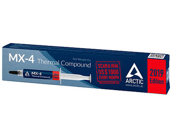 Arctic MX-4 Thermal Compound 2019 Edition 8g, Thermal Conductivity 8.5 W/(mK), Viscosity 870 poise, Density 2.50 g/cm3