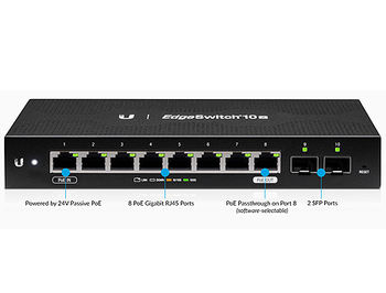 Ubiquiti EdgeSwitch ES-10X, 8-Port Gigabit RJ45, 2-ports SFP, Supports PoE Input on Port 1, Non-Blocking Throughput: 10 Gbps, Switching Capacity: 20 Gbps, Rackmountable (retelistica switch/сетевой коммутатор)