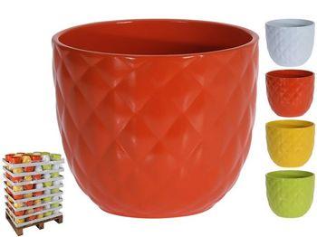 """Вазон для цветов керамический """"Diamond"""" D14.5cm, H12cm, 4 цв"""