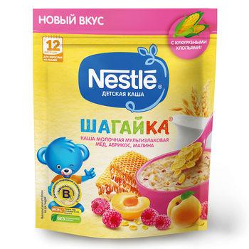 Каша мультизлак мед-абрикос-малина с молоком Nestle Шагайка, с 12 месяцев, 190г