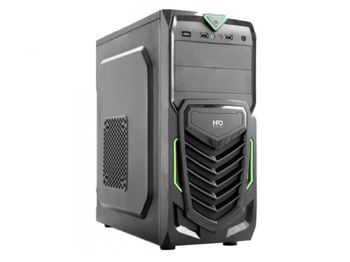 HPC B-13 ATX Case, (500W, 24 pin, 2xSATA, 12cm fan), 1xUSB3.0, 2xUSB2.0 / HD Audio, Black + Green decoration