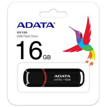 16GB USB3.1 Flash Drive ADATA UV150, Black, Plastic, Classic Cap (R/W:40/20MB/s) (memorie portabila Flash USB/внешний накопитель флеш память USB)
