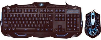 "MARVO ""KM400"",Backlit Gaming Keyboard&Mouse Combo, Keyboard: 114 keys, 10-multimedia keys, 3-color lightings; Mouse: 800/1200/1600/2400dpi adjustable, Optical sensor, 6 buttons, 7 colors cycling in breathing mode, Braided cable,USB, RU layout, Black"
