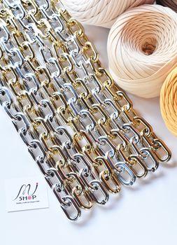 Lanț acrilic, 38 cm / argintiu