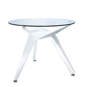 cumpără Masă rotundă cu suprafaţa din sticlă, picioare din metal, 900x750 mm, alb în Chișinău