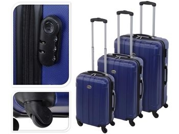 Valiza-troller 61l 60X40X24cm mediu, аlbastru, plastic
