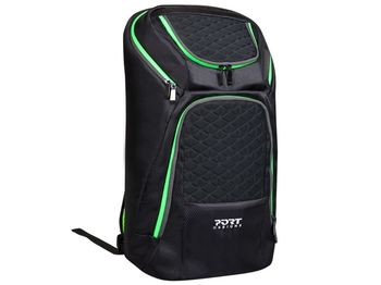 "17.3"" NB Backpack - PORT GAMING, Black/Green, Dimensions: 52.5 x 32 x 17 cm, Dedicated compartment for Gaming Keyboard, Laptop and Tablet, Materials: Water-repellent Jacard Polyester, Top loading opening for optimal access to the gear"