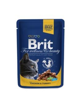 купить Brit Premium Cat Pouches with Chicken & Turkey (Кусочки c курицей и индейкой. Влажный корм класса премиум для взрослых кошек) в Кишинёве