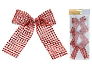Банты декоративные 3шт 12.5сm, красные с блетсками