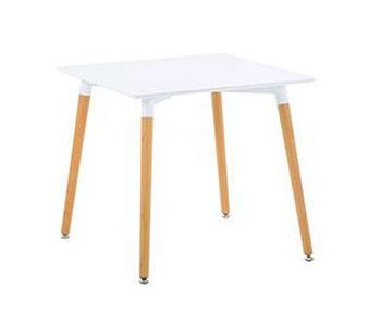 купить Квадратный стол из МДФ ножки из дерева 800х800х750 мм, белый в Кишинёве
