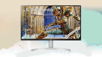 """32"""" LG """"32UN650-W"""", White/Bk/Silver"""