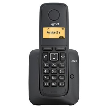 "DECT/GAP Phone Gigaset A120 Black, handset + analog base station/charger, Alphanumeric B/W illuminated TFT 1.4"", AOH, Caller ID, Standby time up to - 200h, Talk time up to - 18h, Phonebook # 50, up to 4 handsets, Handset 151x47x31, 2 x NiMH AAA"