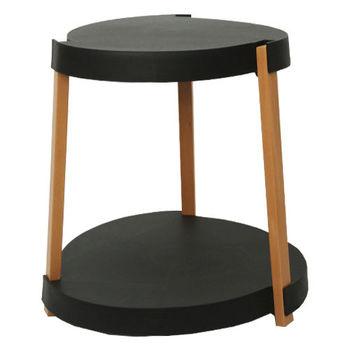 купить Журнальный столик из дерева на двух уровнях, с колесами 545x610 мм, черный в Кишинёве