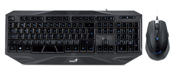 Keyboard & Mouse Genius KM-G230 Backlight Gaming Desktop, Keyboard (Blue backlight, full size) + Mouse (6 buttons, 500/1000/1500/2000dpi, 21 customizable macro keys, Rubber finish grip, 1.8 m braided mouse cable), Gold-plated USB connector, Black