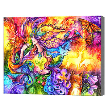 Девушка жар-птица, 40x50 см, aлмазная мозаика