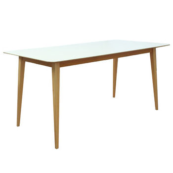 Стол с деревянной поверхностью и деревянными ножками, 1600x800x750 мм, белый