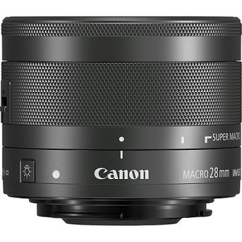 Prime Lens Canon EF-M 28 mm f/3.5 Macro STM, Lens 7/6, Angle of view 54*/37*/63*, Blades 7, Min aperture 22, Close focus to 0.15m, Max magnification (x) - 0.21, Accessories: Lens Cap E-43, Hood EW-43, Case LP811