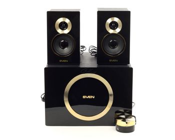 "SVEN MS-1085 GOLD (Black),  2.1 / 20W + 2x13W RMS, wired control, all wooden, (sub.5"" + satl.(3""+1""))"
