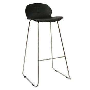 купить Барный стул из пластика, хромированные ножки 475x480x935 мм, черный в Кишинёве