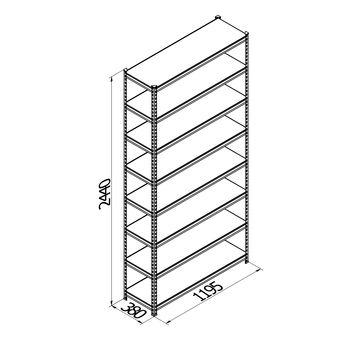 купить Стеллаж металлический с  металлической плитой Gama Box 1195Wx380Dx2440 Hмм, 8 полок/MB в Кишинёве