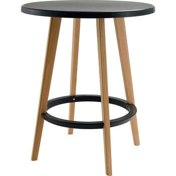 cumpără Masă de cafea cu suprafața din plastic, picioare din lemn 600x700 mm, negru în Chișinău