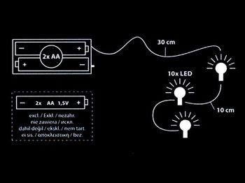 """Огни новогодние """"Разных форм"""" 10LED L130cm, серебр, т-бел"""