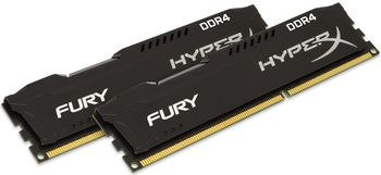 16GB (Kit of 2*8GB) DDR4-2666  Kingston HyperX® FURY DDR4, PC21300, CL16, 1.2V, Auto-overclocking, Asymmetric BLACK heat spreader, Intel XMP Ready  (Extreme Memory Profiles)